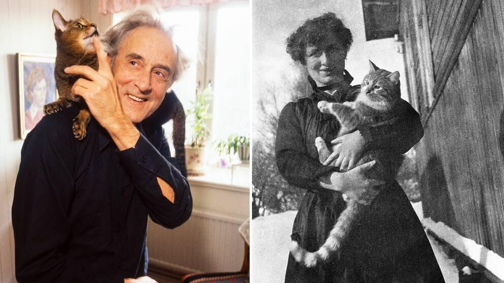 Werner Aspenström med katten Tempus och Edith Södergran med Totti.