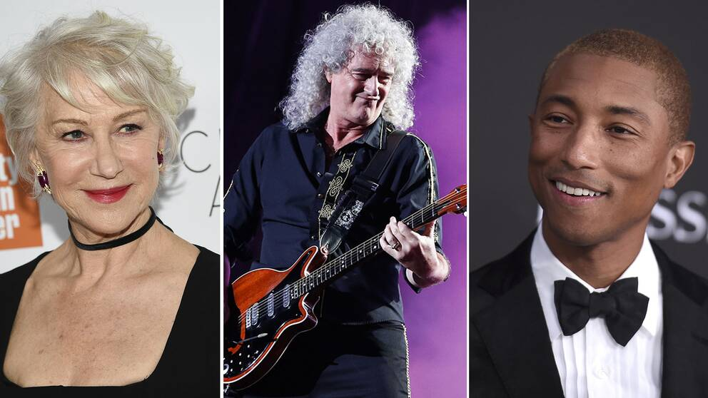 Helen Mirren, Brian May och Pharrel Williams.