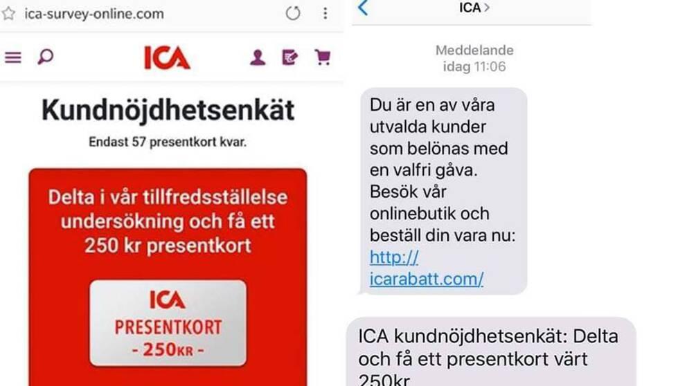 Exempel på SMS som skickats i ICA:s namn