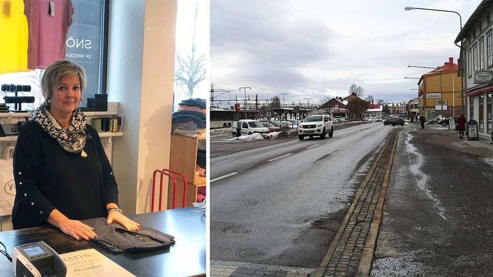 collage. vänster bildhalva: Kvinna bakom en disk. Höger bildhalva: En bilväg med bebyggelse runtom.