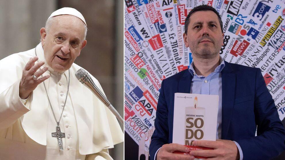 Frédéric Martel håller i sin bok och Påven står och gestikulerar under ett tal.