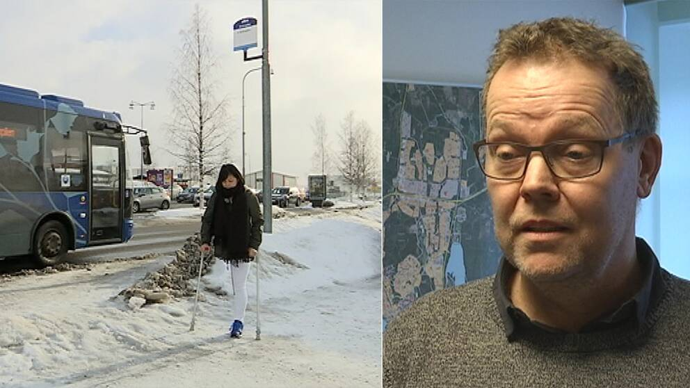 en tjej vid en busshållsplats och en man i glasögon