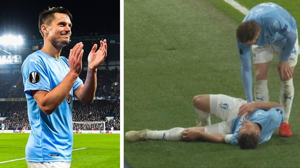 Markus Rosenberg lämnade bortamatchen mot Chelsea i förtid med en skada. Men veteranen såg inte mer bekymrad ut än att han leende kunde tacka de tusentals tillresta Malmö FF-fansen.