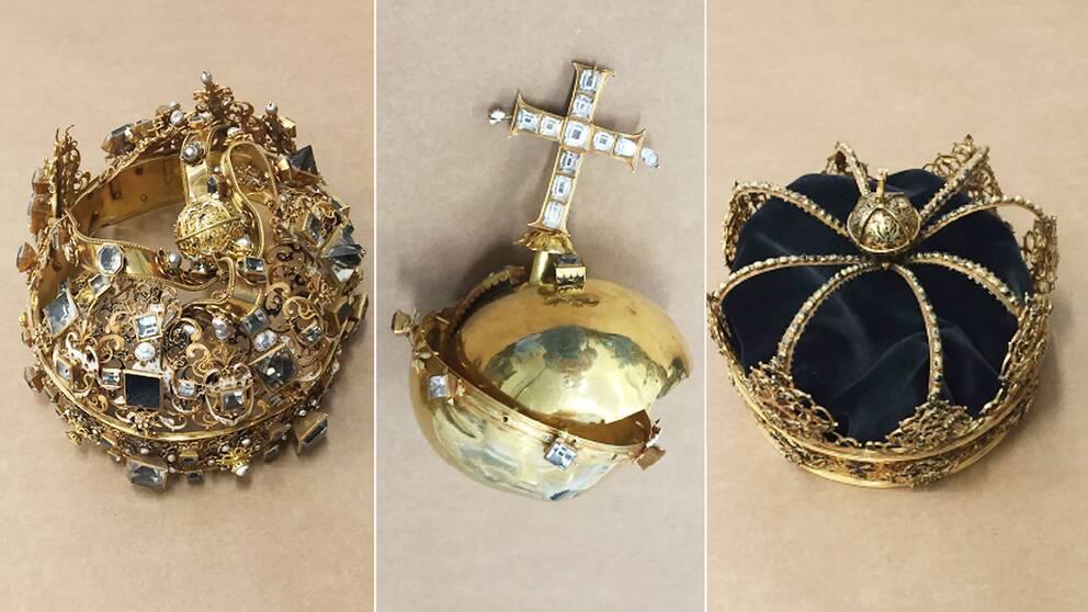 Karl IX:s begravningskrona, Karl IX:s riksäpple samt drottning Kristina av Holstein Gottorps begravningskrona.