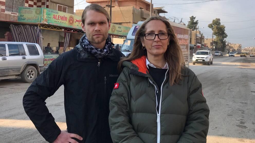 Niclas Berglund och Sanna Klinghoffer, SVT:s team i Syrien.