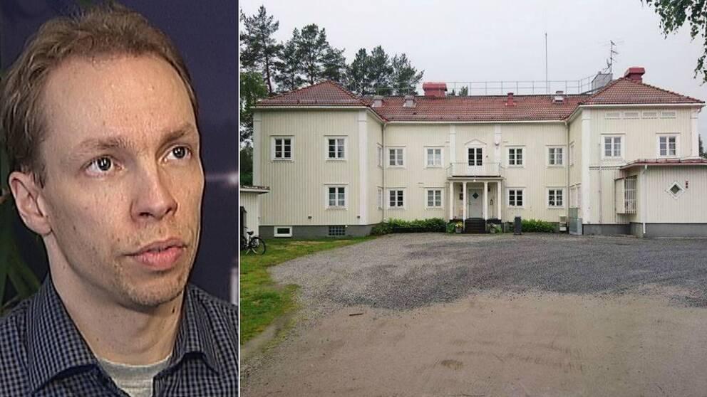 Kommunalrådet Mathias Haglund och Renforsens LVM-hem i Vindeln.