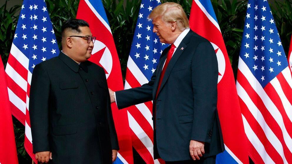 Nordkoreas ledare Kim Jong-Un och USA:s president Donald Trump på det historiska toppmötet i Singapore 12 juni 2018.