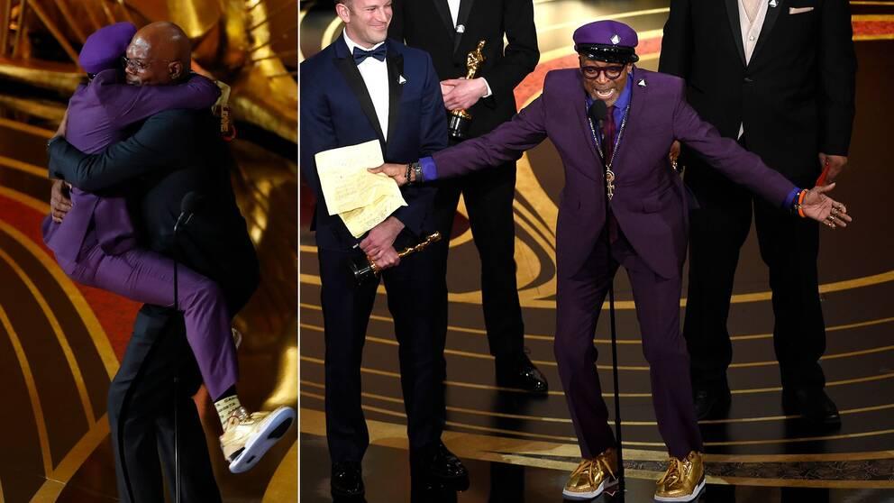 En jublande glad Spike Lee omfamnar Samuel L Jackson och tar sedan emot sin Oscar för bästa manus efter förlaga under galan.