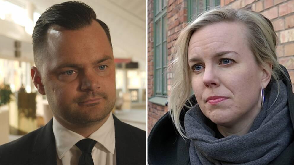 Adam Marttinen (SD) och Linda Snecker (V) har olika åsikter om hur barn till svenska IS-anhängare ska hanteras.