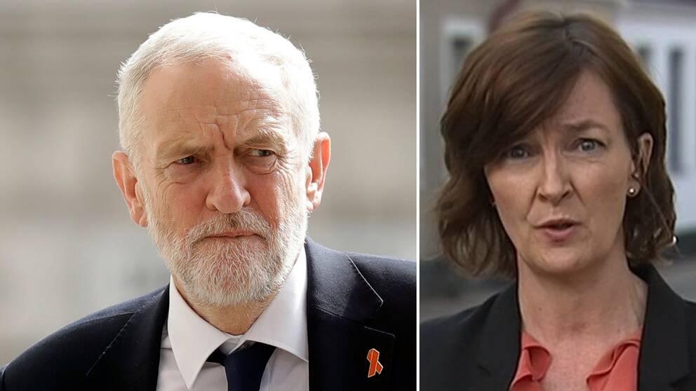 """""""Storbritannien befinner sig i en politisk kris och i det här turbulenta läget kan man inte utesluta att det till slut blir en ny folkomröstning"""", säger Anna-Maja Persson (t.h), SVT:s utrikesreporter, efter Jeremy Corbyns (t.v) besked under måndagen."""