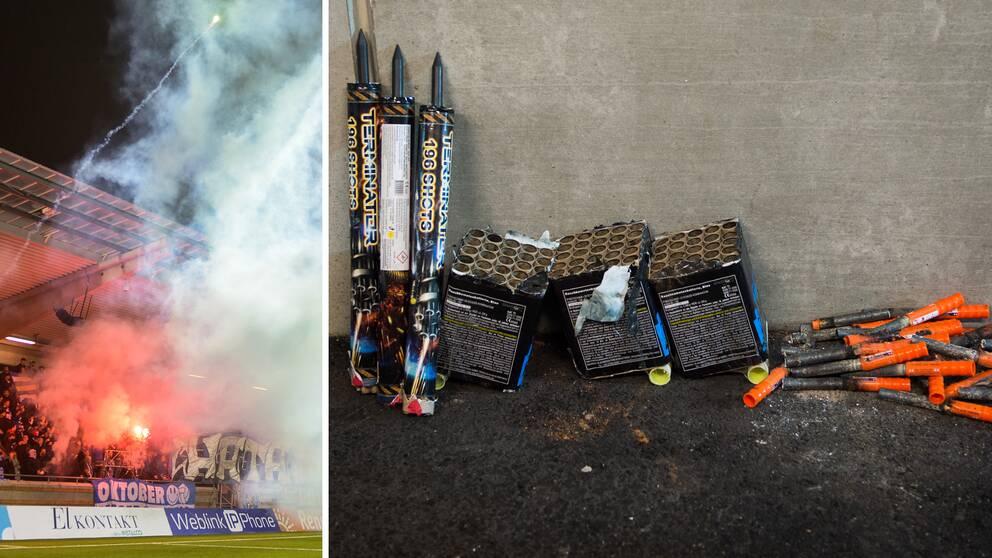 Pyrotekniken som tändes under IFK Göteborg-Gais efter matchen.