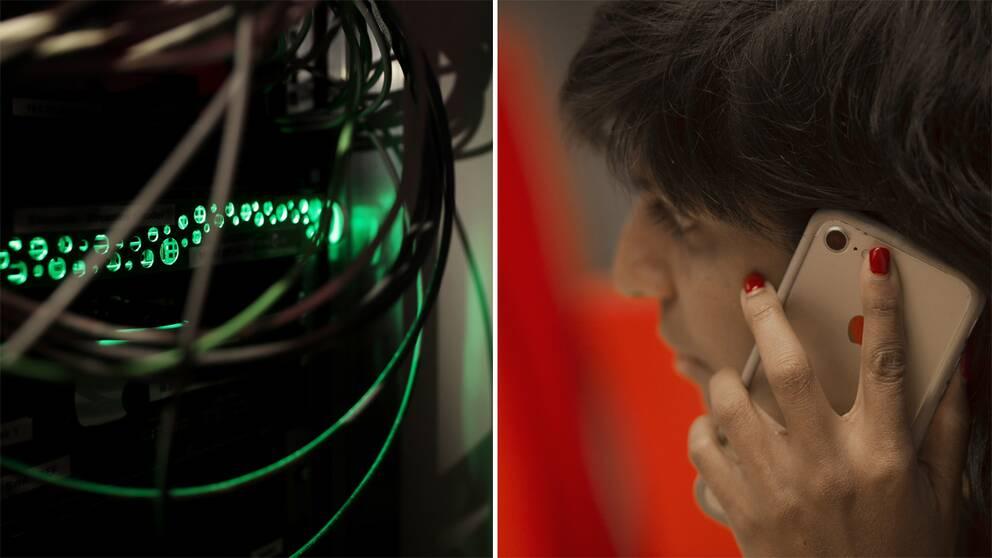 en server och en kvinna som pratar i telefon.