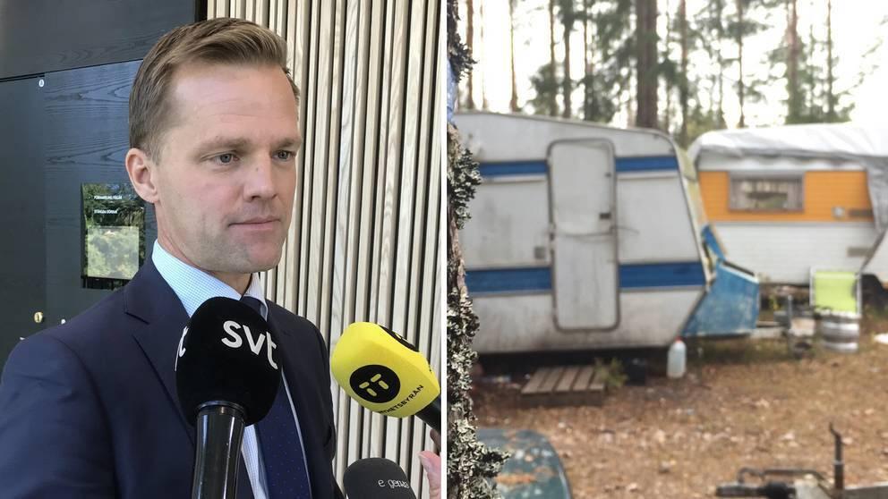 På bilden syns åklagare Måns Biörklund prata med ett samlat pressuppbåd på rättegången, samt en bild från det husvagnsläger där tiggarna levde i misär utanför Växjö.