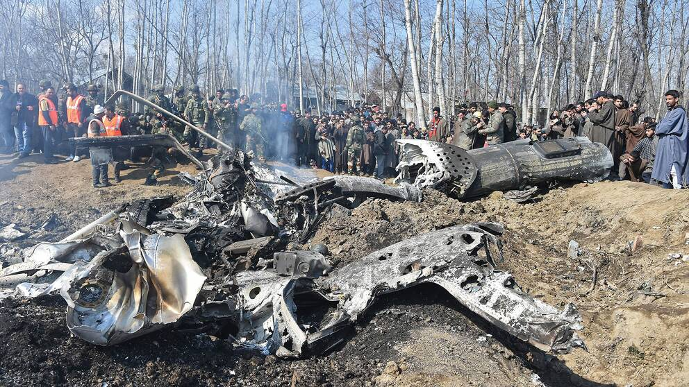 Resterna av ett nedskjutet indiskt stridsflygplan