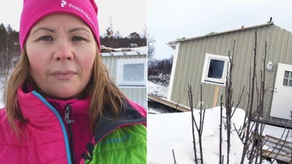 Inga Kuoljok vid sitt bortblåsta hus i Sáltoluokta.