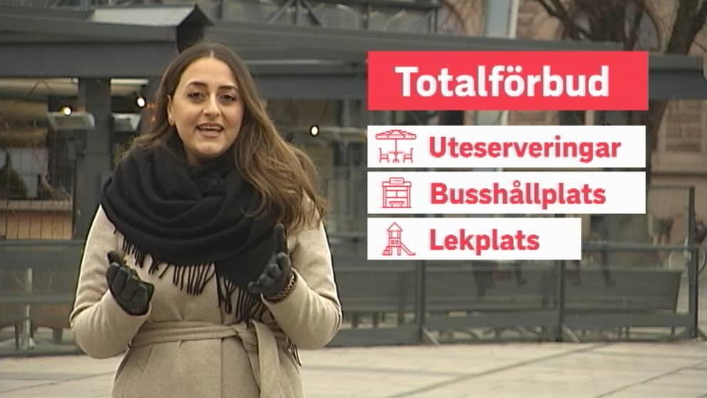en ung kvinna som står i utemiljö, grafik på sidan om totalförbud