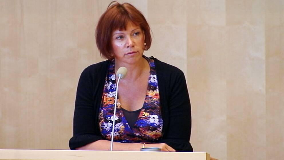 Margareta Larsson (SD) under dagens riksdagsdebatt.