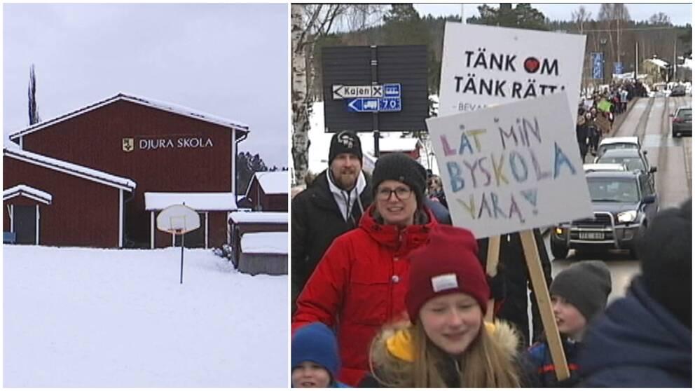 Djura skola, sida vid sida med ett protesttåg med vuxna och barn i Leksand.