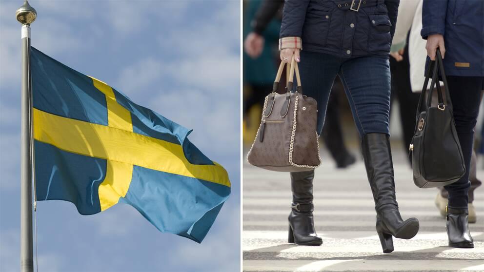 Bild på svenska flaggan samt två kvinnor som går med handväskor i handen.