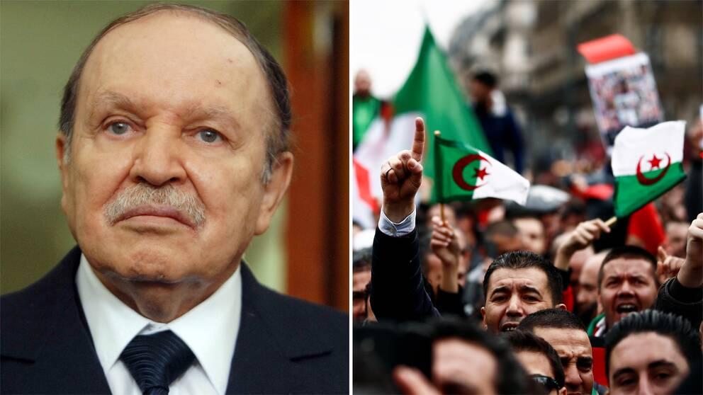 Arkivbild på Algeriets sittande president Abdelaziz Bouteflika och en bild på 2019-års protester.