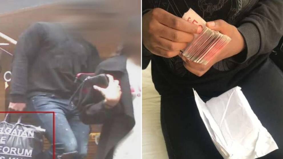 De misstänkta och en bunt 500-sedlar
