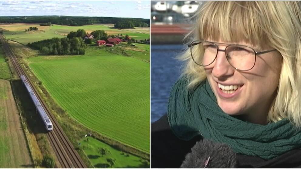 Ett tåg åker genom Sverige till vänster i bild, till höger syns Kristina Engdahl bli intervjuad av SVT:s reporter.