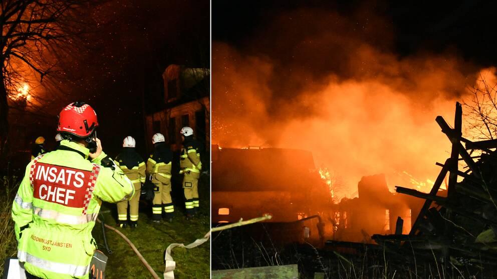 Räddningstjänsten fokuserar på att rädda ett bostadshus i närheten av ladugården som brinner i Eslöv under natten mot tisdagen.