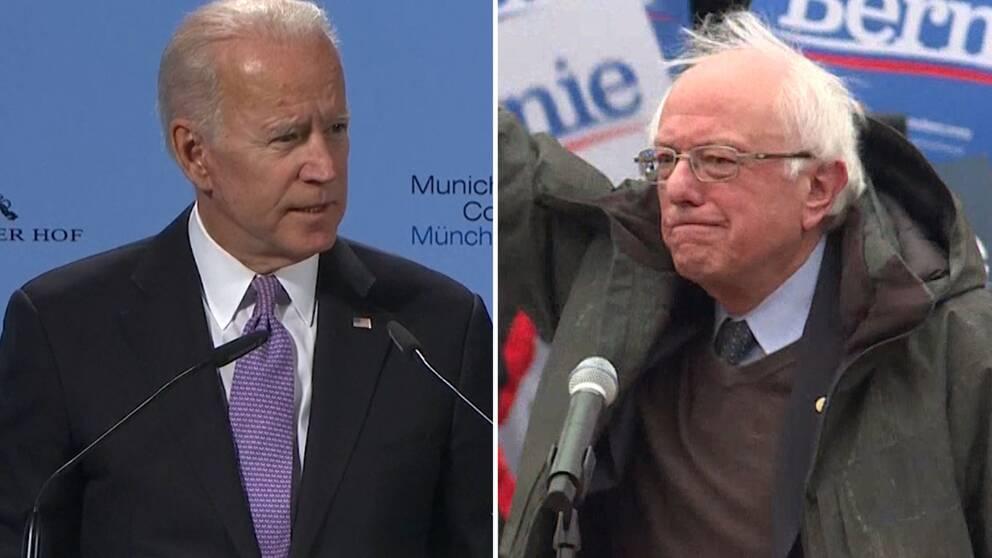 Joe Biden och Bernie Sanders är de som jagas i det demokratiska primärvalet.