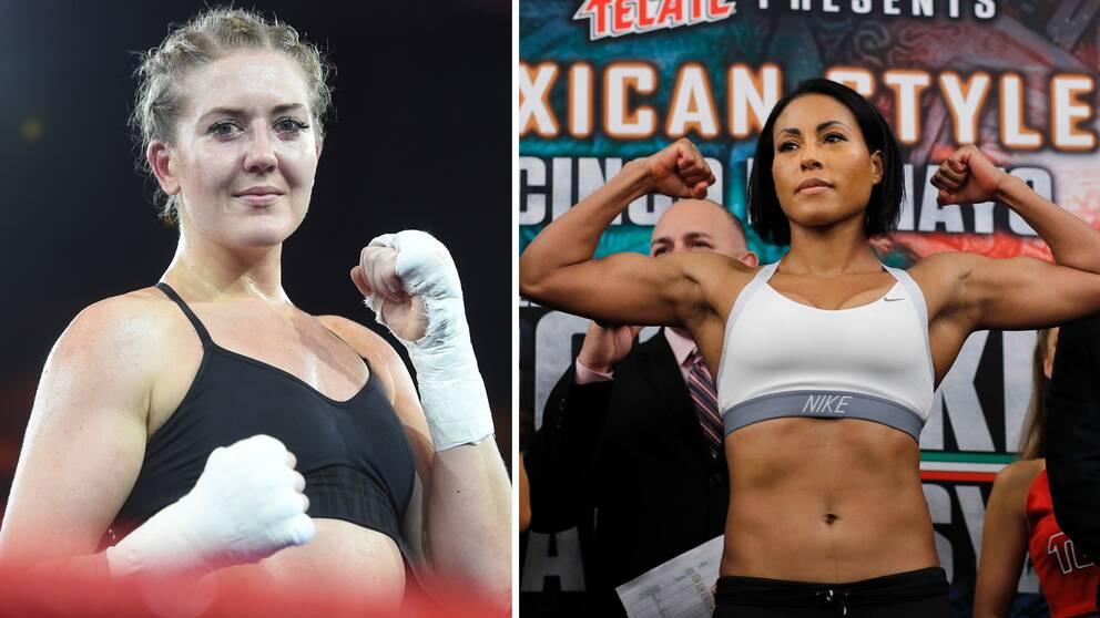 Klara Svensson vill få en chans till att utmana obesegrade norskan Cecilia Braekhus (höger).