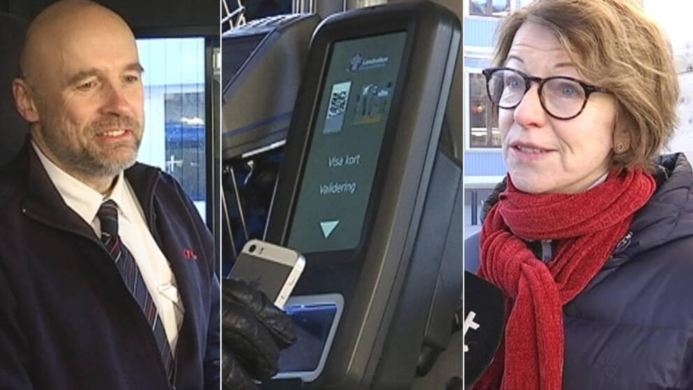 en man i arbetskläder till vänster, en scanningsapparat i mitten som tillhör Transdevs bussar och en kvinna i röd halsduk och glasögon till höger.