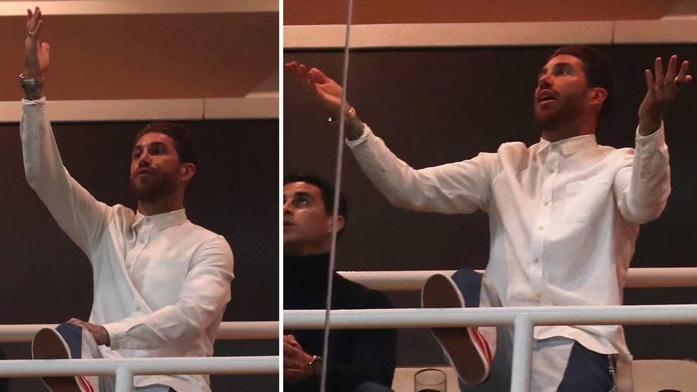 Sergio Ramos, som medvetet tog en varning för att slippa returen mot Ajax, gestikulerar besviket på läktarplats i 1-4-förlusten på Santiago Bernabeu.