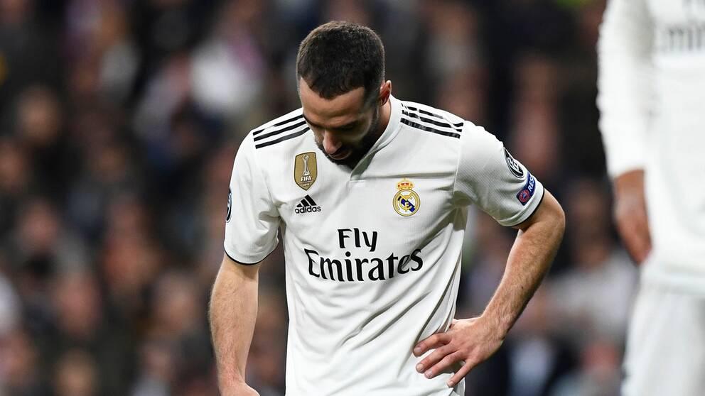 Real Madrids ytterback Dani Carvajal var besviken efter uttåget.