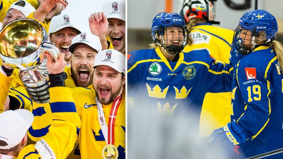 Vänster: Tre Kronor firar VM-guldet 2018. Höger: Damkronornas Nathalie Ferno och Sofie Lundin jublar.