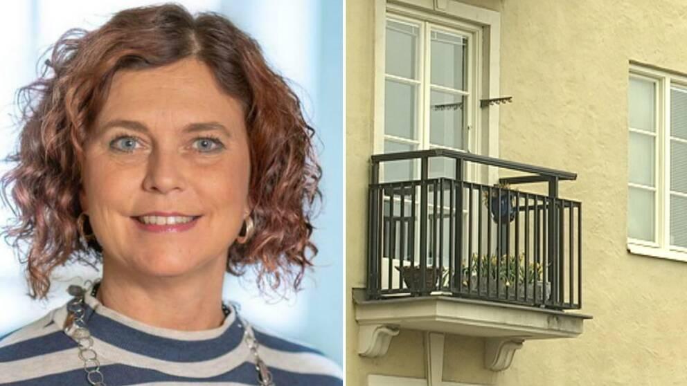 Emma Carlsson Löfdahl (L) och en balkong på ett bostadshus