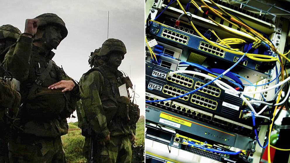 Svenska militärer ute på fält under en övning och sladdar