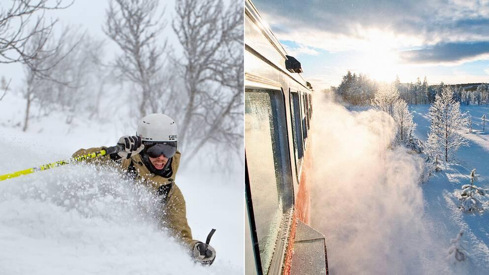 Skidåkare åker offpist i bild till vänster. Tåg i vintermiljö till höger.