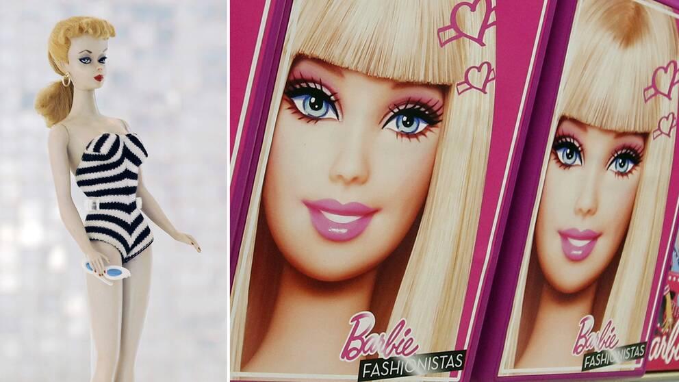 Barbiedocka från 1959 och bilder på barbie