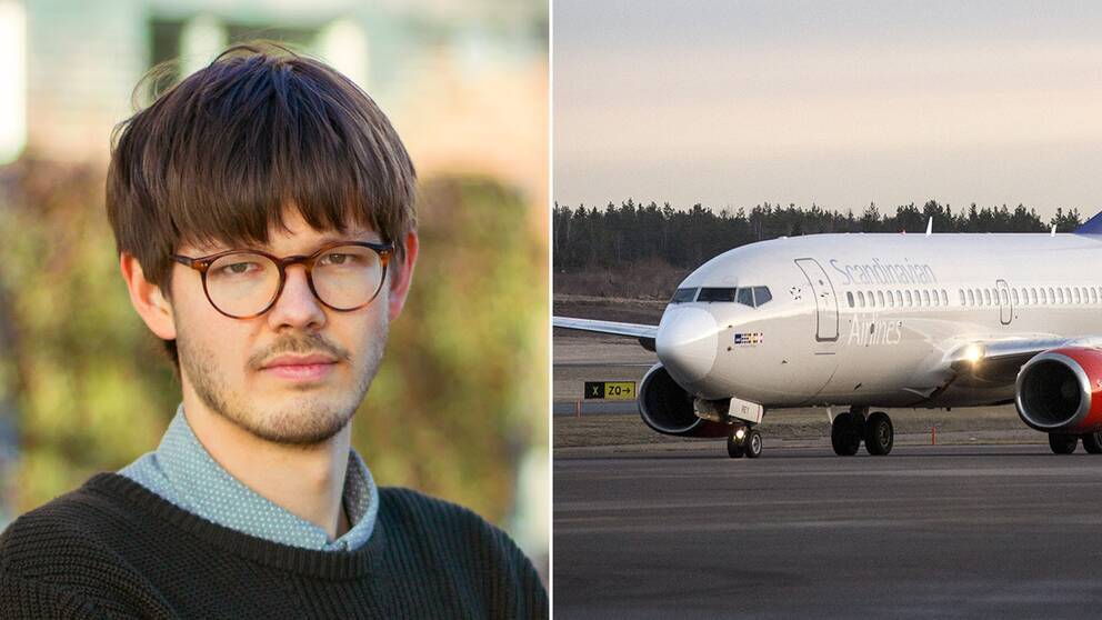 Grön ungdoms språkrör David Ling och ett flygplan