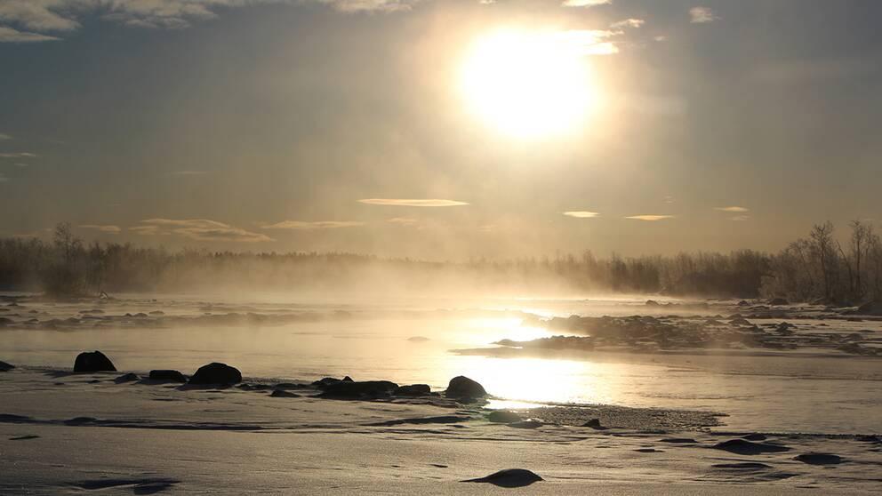 Början av Kalix vid Kaalasjärvi. Även fryser aldrig ,drygt 20 minusgrader när bilden togs.