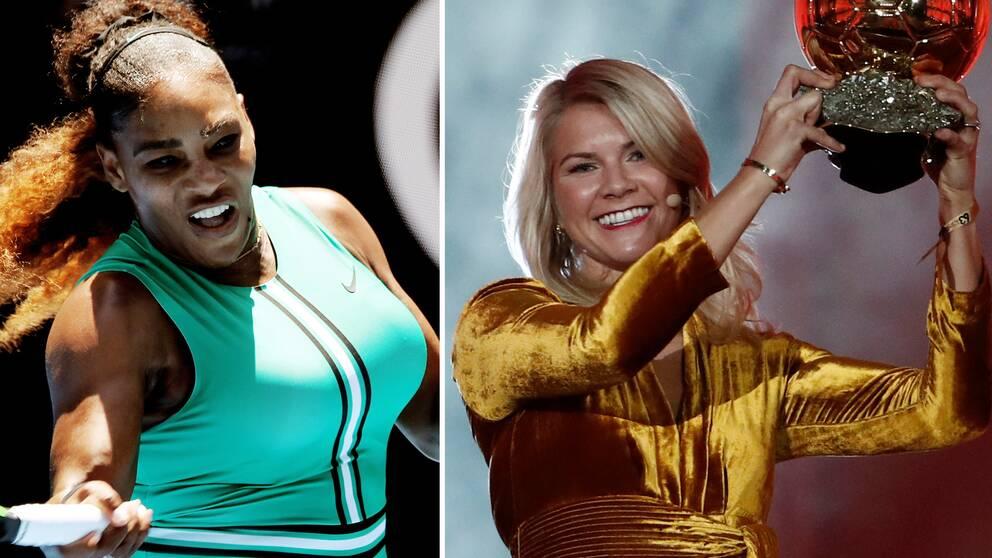 Serena Williams och Ada Hegerberg.