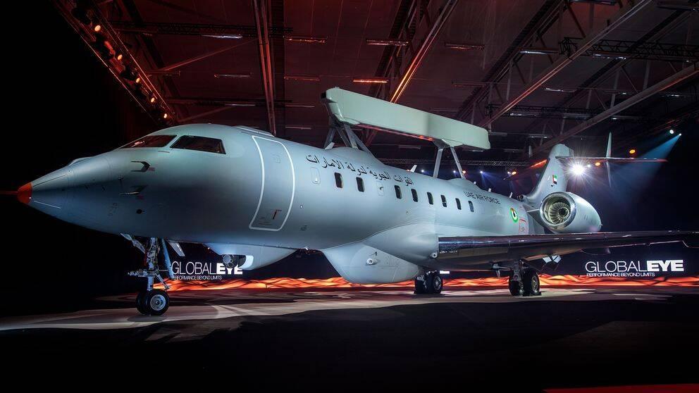 Saab i Linköping visar nya spaningsplanet Global Eye som ska exporteras till Förenade Arabemiraten.