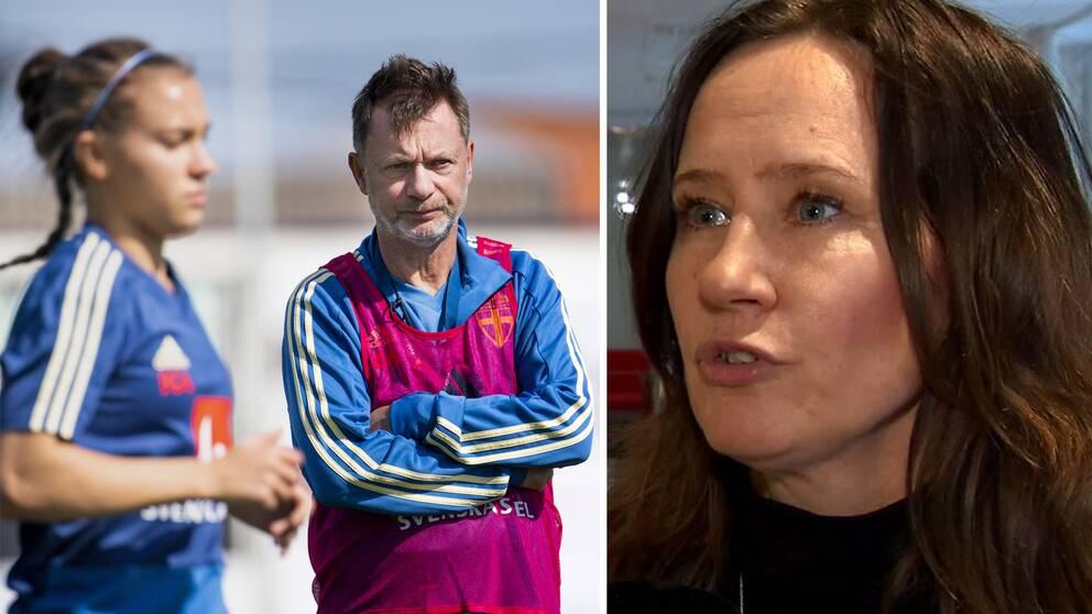 Peter Gerhardsson, förbundskapten damlandslaget i fotboll och forskare Jenny Svender.
