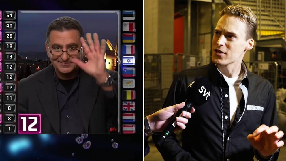 Till vänster vinkar Israels poängpresentatör i TV. Till höger Melodifestivalexperten Gustav Dalander.