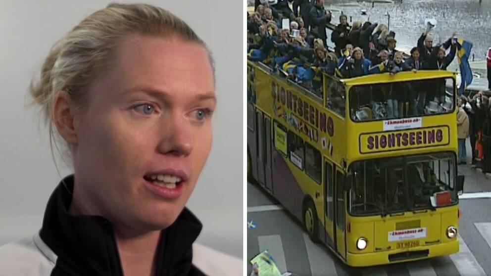 """Hedvig Lindahl minns tillbaka på VM-silvret 2003 som tredjemålvakt och firandet i Stockholm. """"Jag trodde hela världen visste vem jag var"""""""