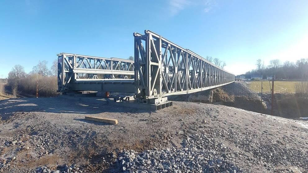 Den nya tillfälliga bron vid Norsholm