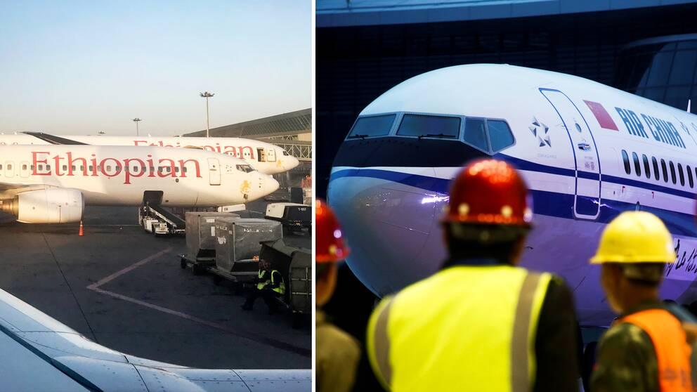 Flygplan av modellen Boeing 737 Max-8 från Ethiopian Airlines och Air China stoppas nu efter olyckan