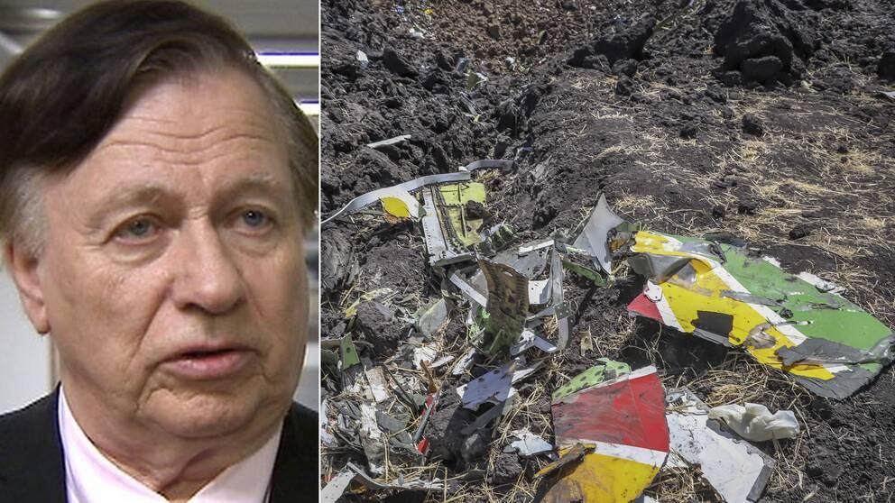 Flygsäkerhetsexperten Hans Kjäll till vänster och olycksplatsen i Etiopien till höger.