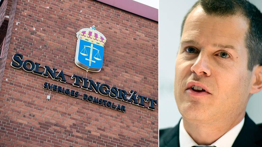 Exteriör Solna tingsrätt och bild på kammaråklagare Anders Tordai