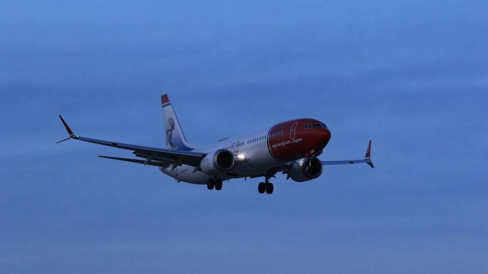 Ett Norwegianplan som fick vända landar på Arlanda.