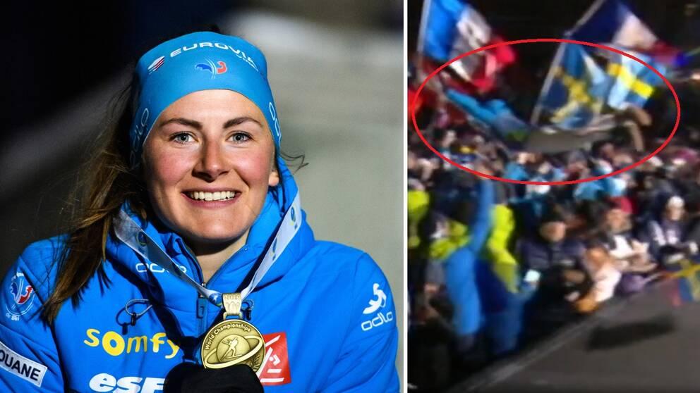 """Justine Braisaz, bronsmedaljör på damernas VM-distans, firade med att en """"stagedive"""" i publikhavet inför prisutdelningen."""